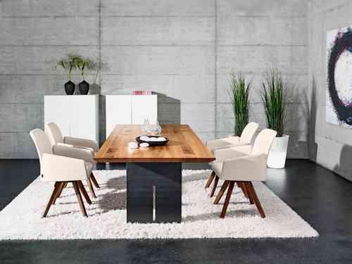 seetal swiss esstisch cavo mit fuss slot in rohstahl kieser wohnen. Black Bedroom Furniture Sets. Home Design Ideas